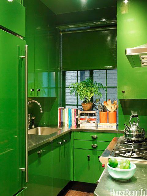 Cozinha verde limão.
