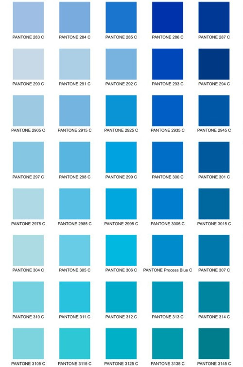 Tons de azul.