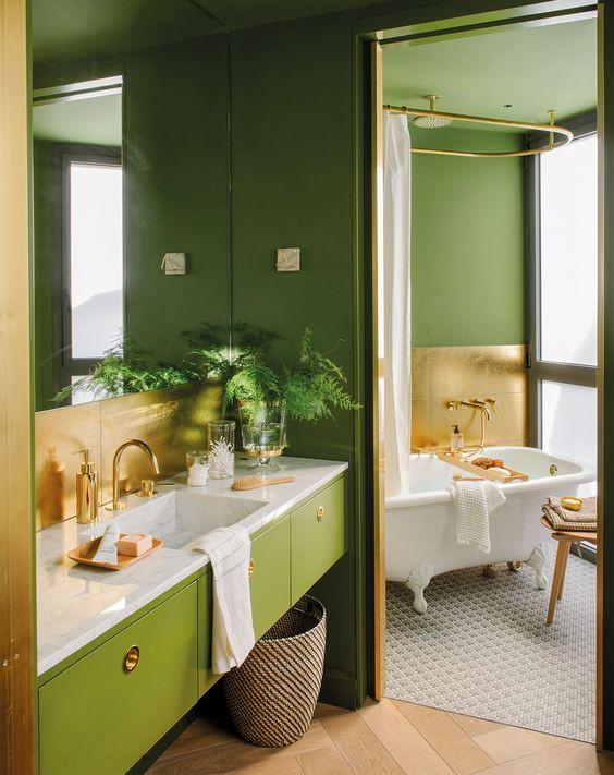 Banheiro verde.