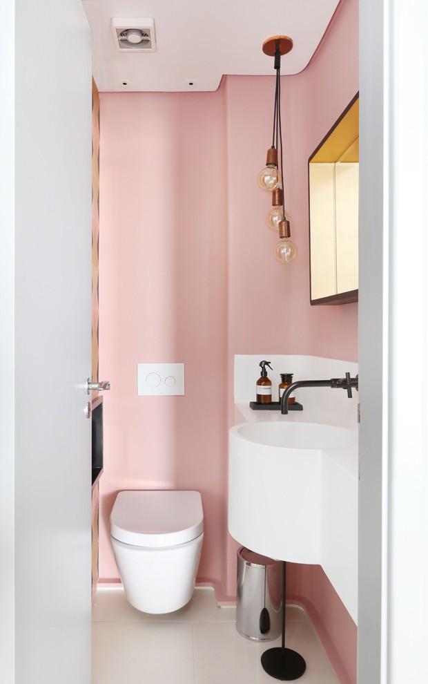 Lavabo rosa millennial Projeto: Loft 87 Arquitetura