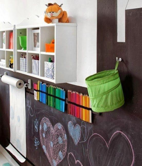 Espaço com parede de lousa e rolo de papel.