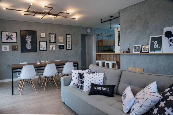 Salas e cozinha estilo industrial. Projeto: Larissa Citton Brehm.