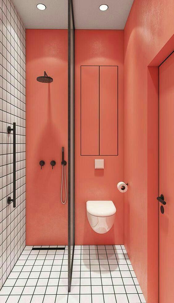 Banheiro com a cor living coral, cor de 2019 da pantone.