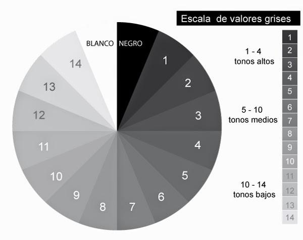 Escala de valores de cinza.