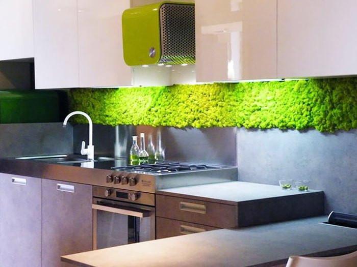 Parede verde na cozinha.