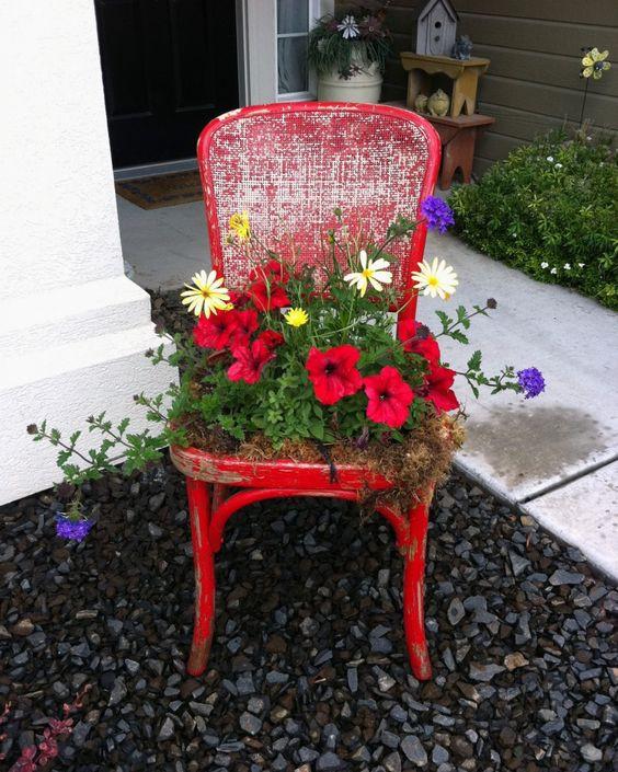 Cadeira com plantas.