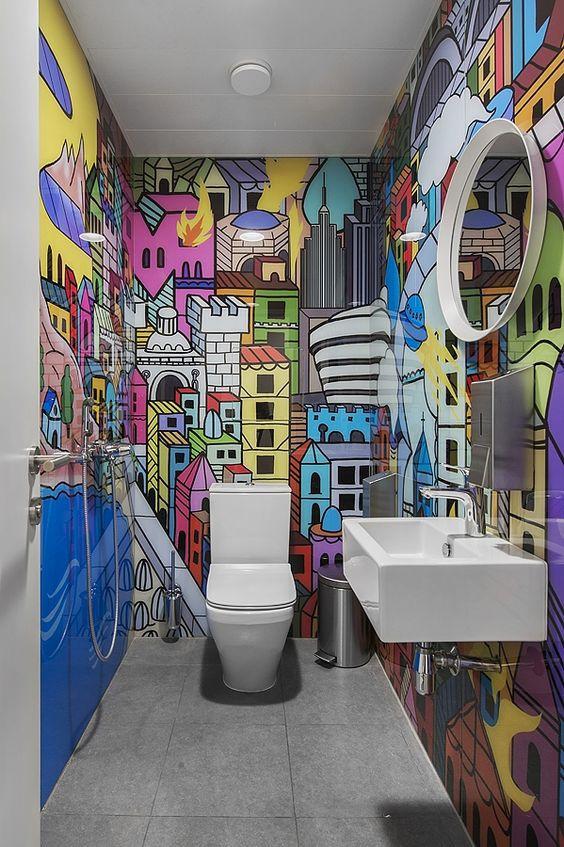 Papel de parede cidade colorida.
