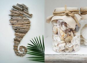 DIY cavalo marinho e pote com conchas.