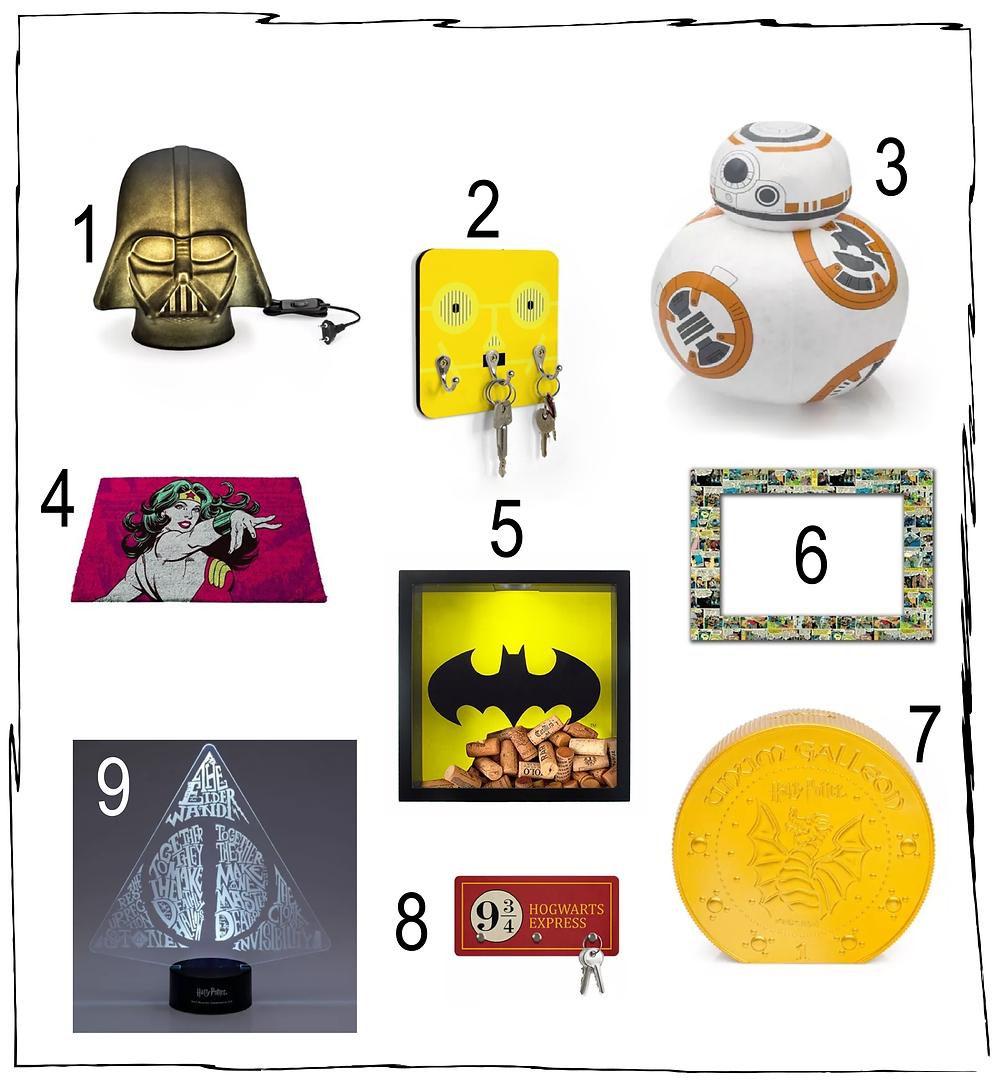Seleção de objetos decorativos geek.