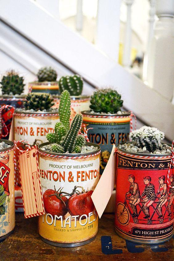 Latas como vaso. Foto: fentonandfenton.com.au