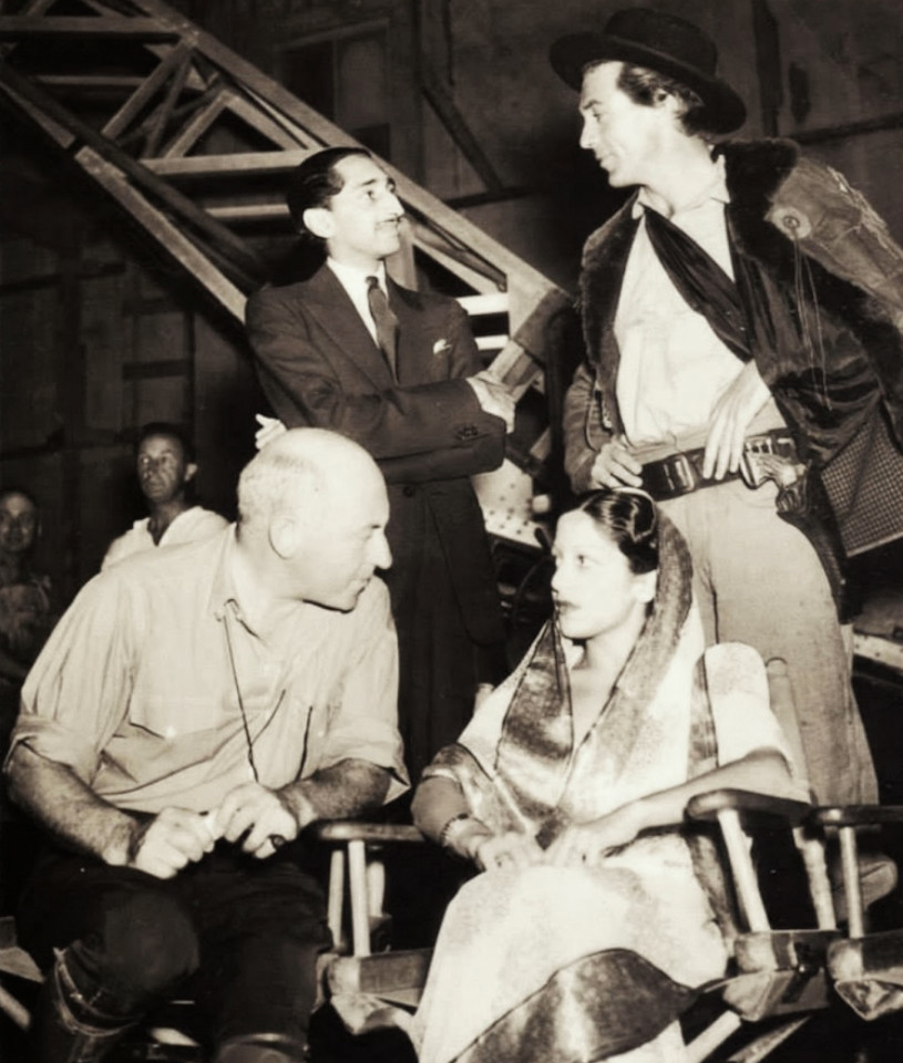 "The Maharaja and his first wife, Maharani Sanyogita, o the set of ""The Plainsman"", with gary Cooper and Cecil B. DeMille in 1936."