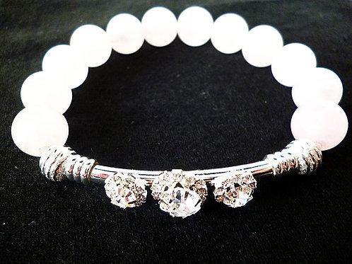 Armband Rosenquarz Edelstein Perlen 10 mm
