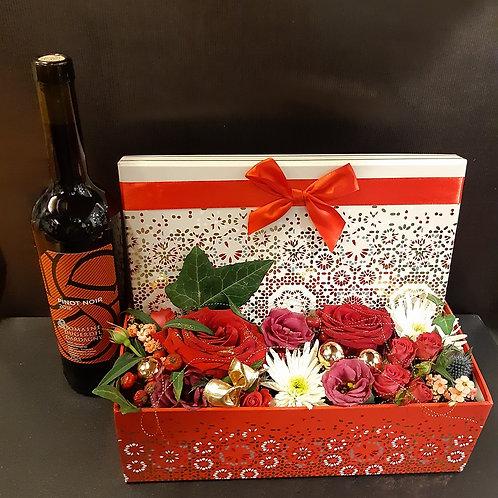 RivieraFlor - Coffret festif fleurs et vin