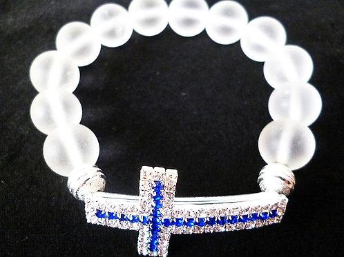 Armband Bergkristall 12 mm mit Strass Kreuz
