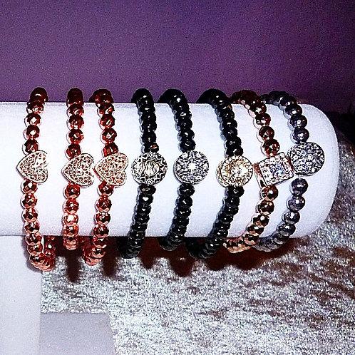 Armband Hämatit verschiedene Variationen Perlen 6mm