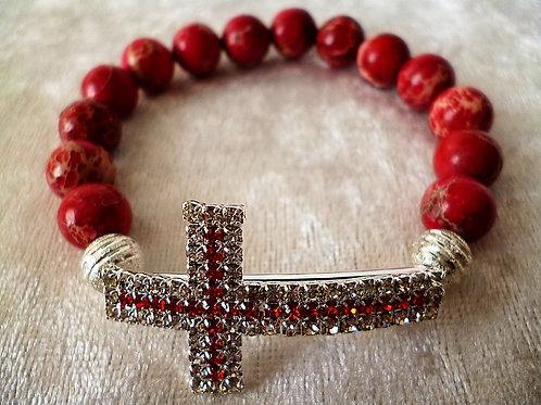 Armband Granat Edelstein Perlen 10 mm mit Strass Kreuz