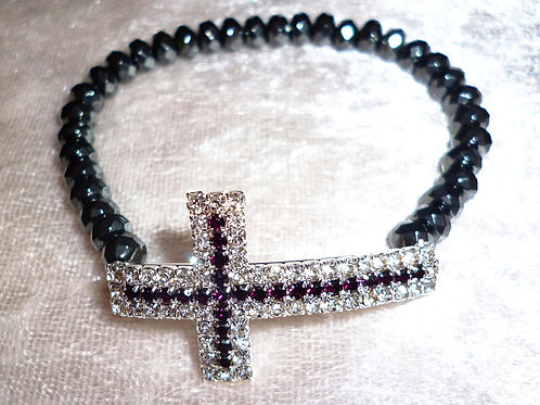 Armband Hämatit mit Kreuz Perlen 6mm