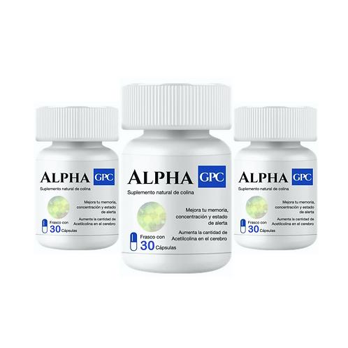 Alpha GPC 3 frascos, 90 cápsulas