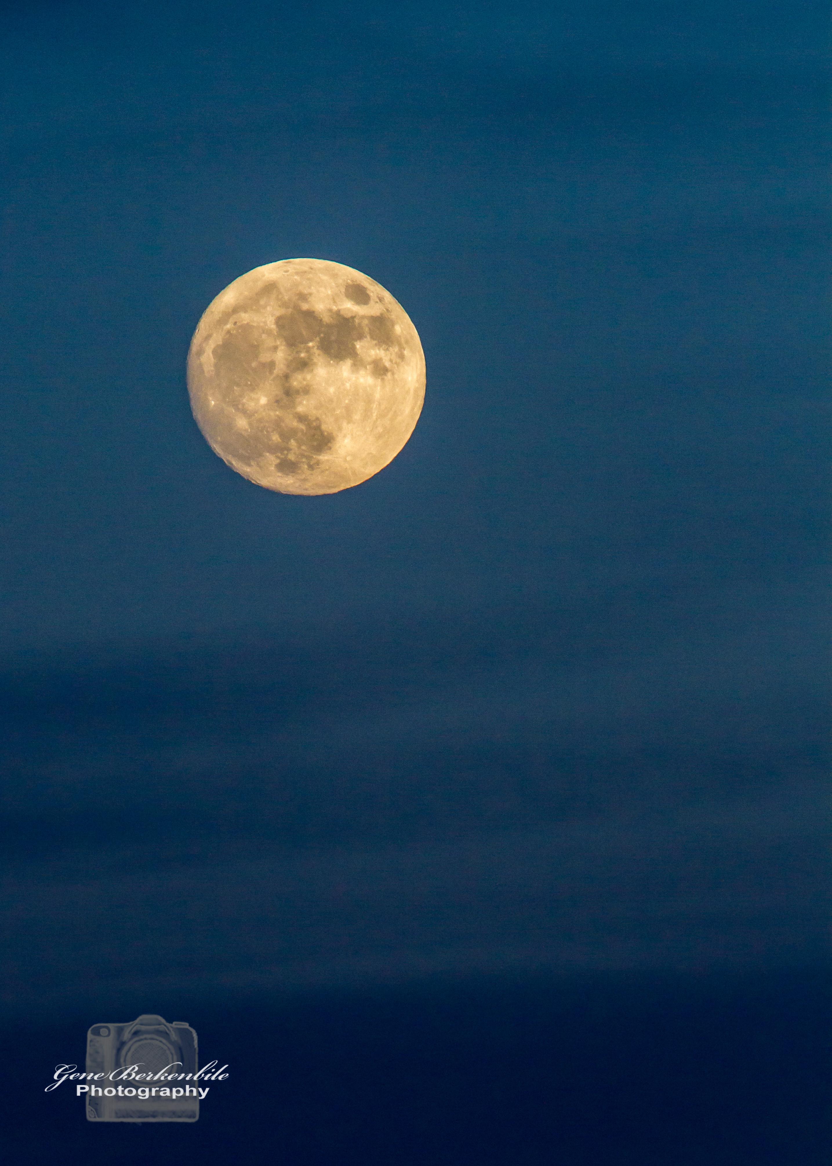 Dusky Blue Sky Moon Morning