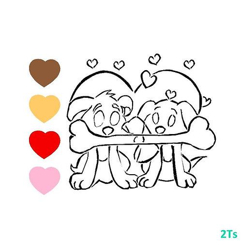 Paint your own Puppies Valentine Stencil