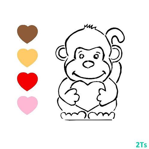 Paint your own Monkey Valentine stencil
