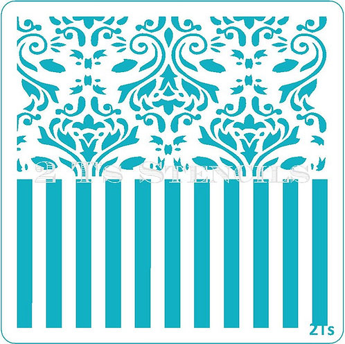 Duo Design 1   no blocker damask/wide stripe