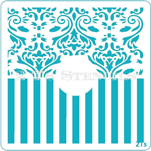 Design 1  circle blocker damask/wide stripe