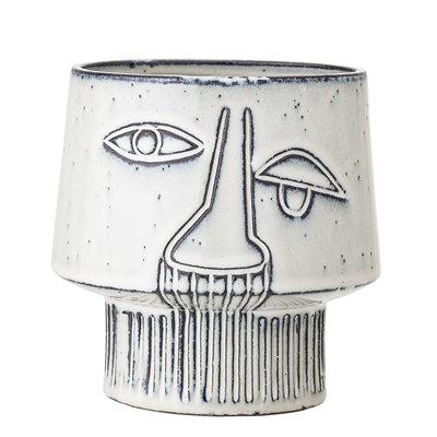 Grey Stoneware Flowerpot