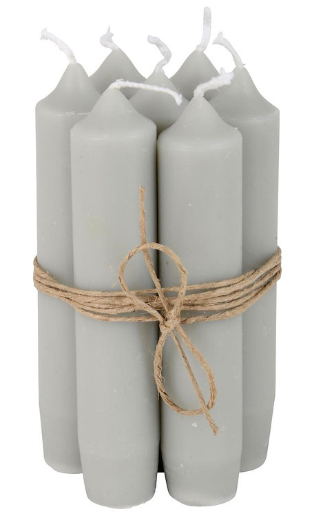 Set of 6 Grey Short Dinner Candles