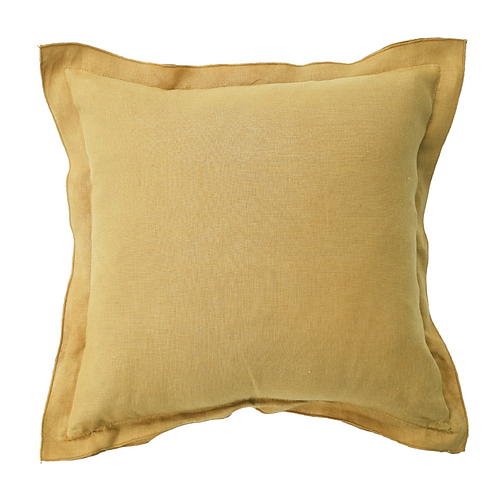 Mustard Linen Bordered Cushion