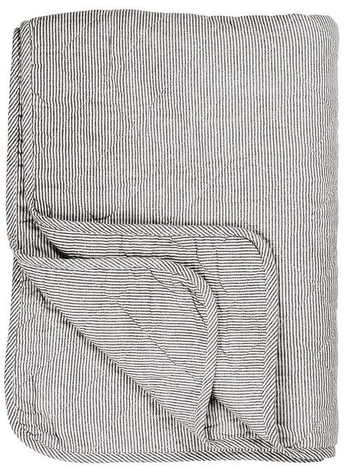 White & Grey Striped Quilt