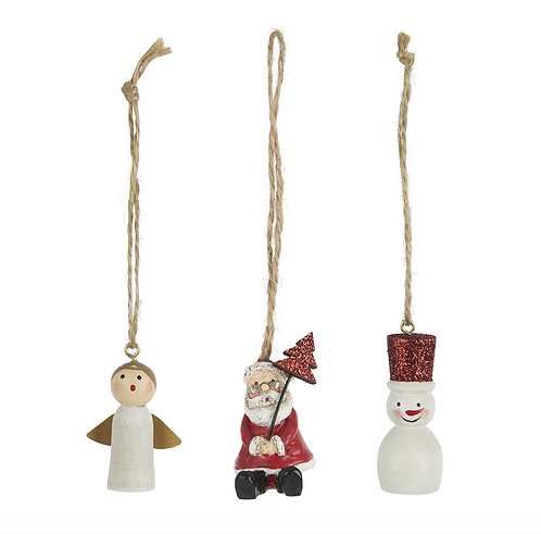 Set of 3 Red and White Christmas Decorations