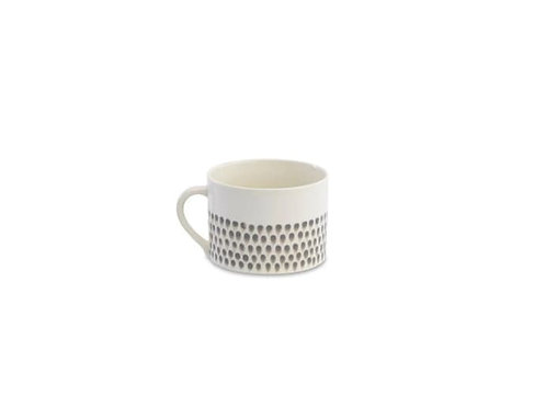 Large Cream & Grey Dew Drop Mug