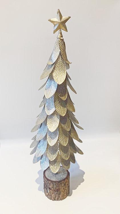 Silver & White Metal Christmas Tree