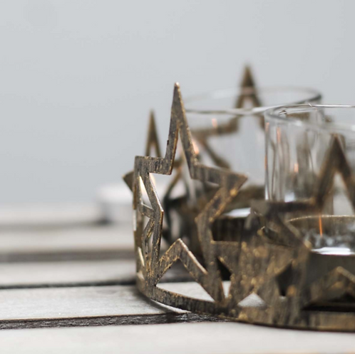Metal Star Plate with Tealight Holders