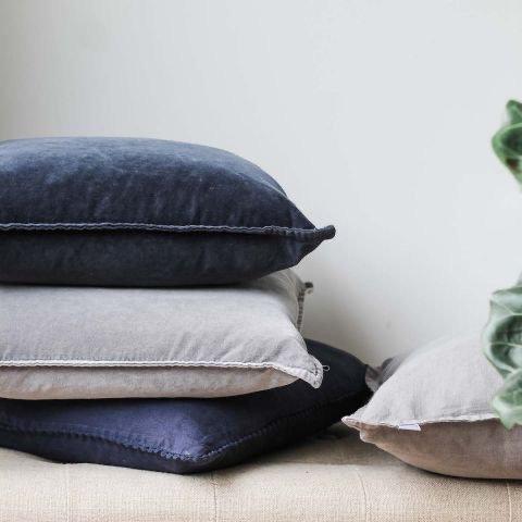 Charcoal Stonewashed Velvet Cushion