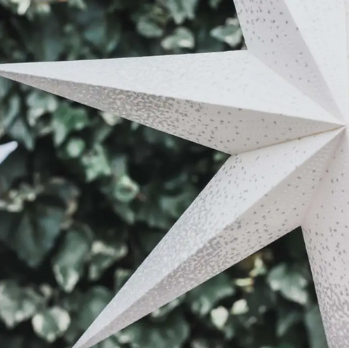 White with Silver edges Light up Star