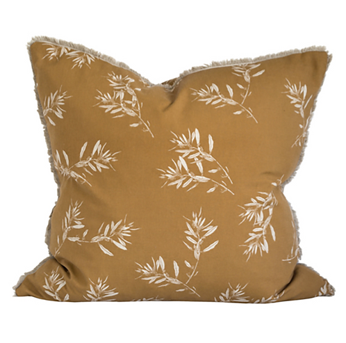 Mustard Printed Olive Grove Cushion
