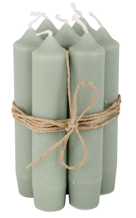 Set of 6 Dusty green Short Dinner Candles