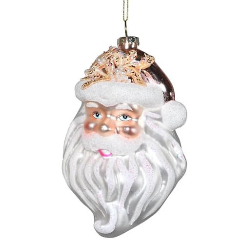 Santa Head Glass Bauble