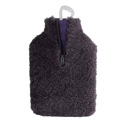Dark Grey Sheepskin Hot Water Bottle Cover