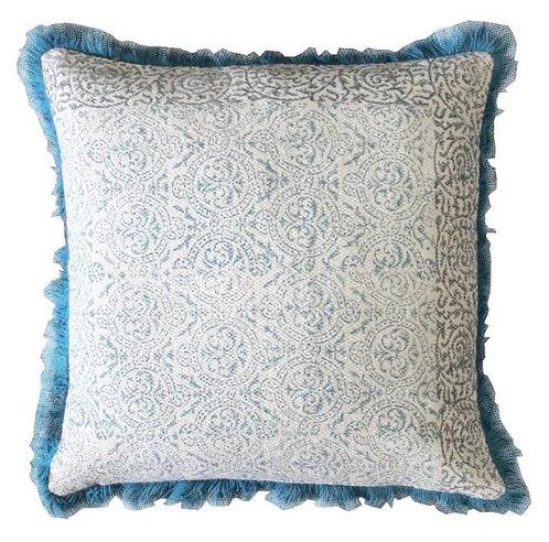 Nakur Teal Block Print Cushion