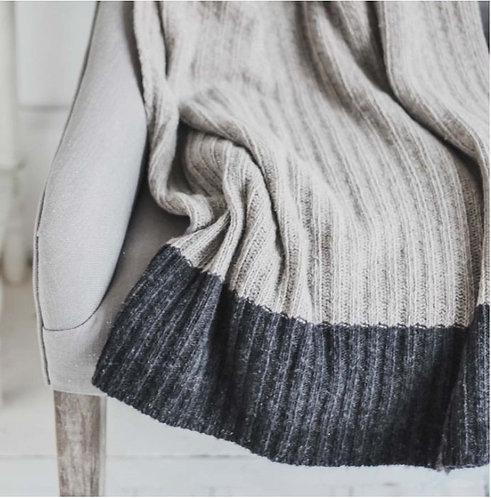 Wool Rich Light Grey Ribbed Throw