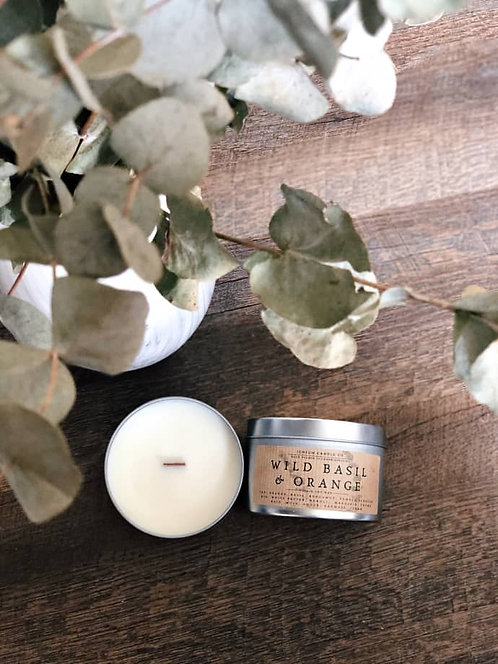 Wild Basil & Orange Scented Soy Wax Candle