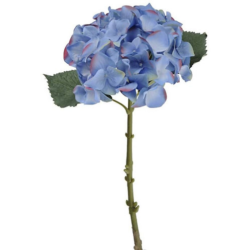Blue Faux Hydrangea with Leaves