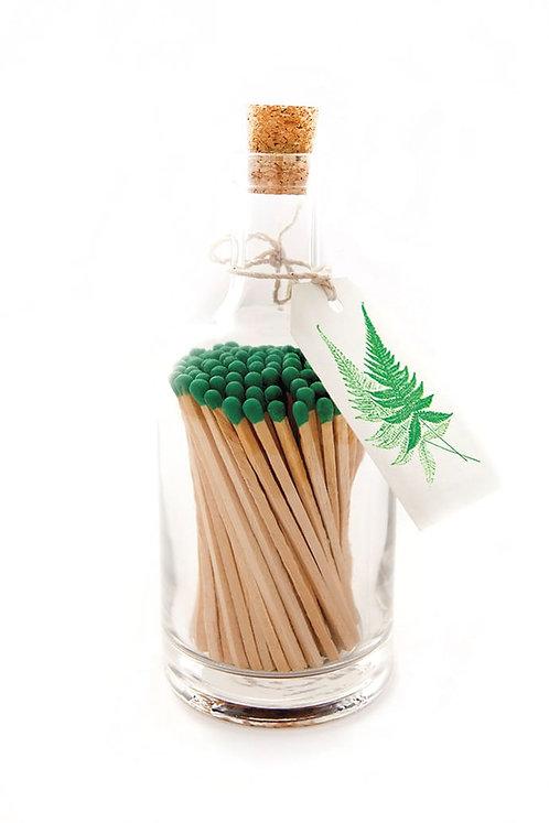 Green Fern Glass Bottle Matches