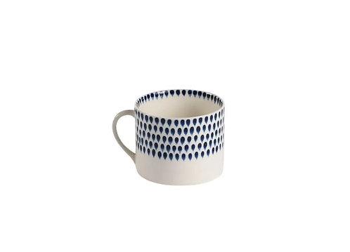 Large Cream & Indigo Ceramic Drop Mug