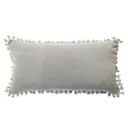 Blue Grey Velvet Tassel Cushion
