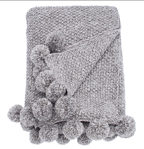 Grey Cosy Knit Pom Pom Throw