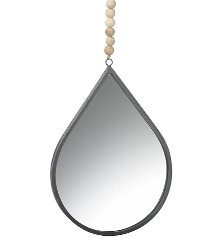 Large Teardrop Mirror with Beads